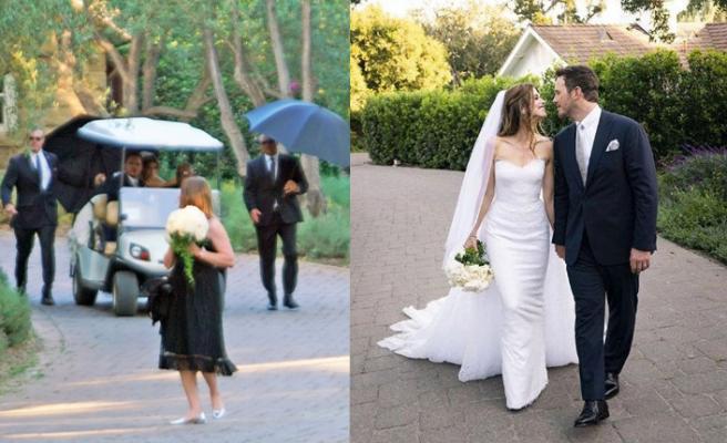 Katherine-Pratt çiftinin düğününde şemsiyeli önlem