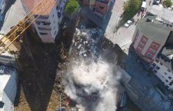 İstanbul Kağıthane'de binanın çökme anı!