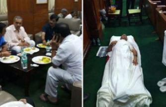 Mecliste ilginç 'uyuma' protestosu!