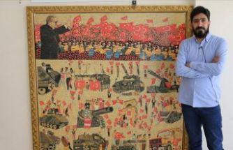 Suriyeli sanatçı 15 Temmuz'u mozaikle anlattı