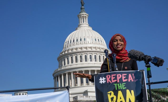 ABD'de vize yasağı protestosu