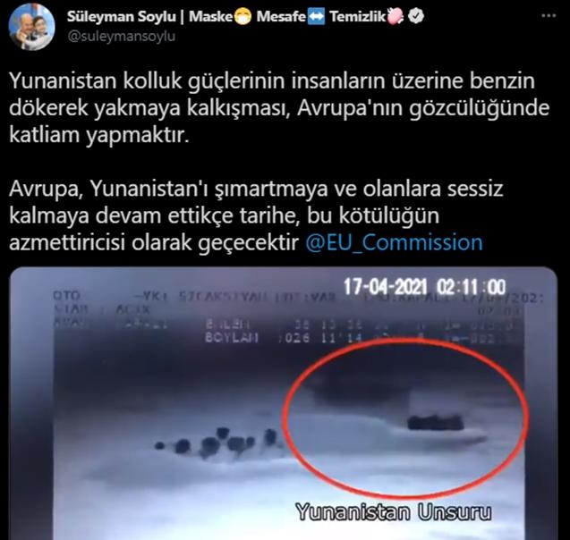 Bakan Soylu: Yunanistan polisi, mültecileri benzin dökerek yakmaya çalıştı