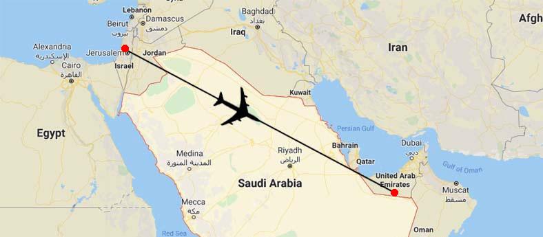 suudi arabistan hava sahası bae-israil uçuşları
