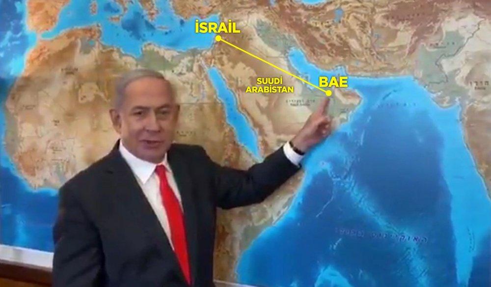 binyamin netanyahu harita suudi arabistan hava sahası