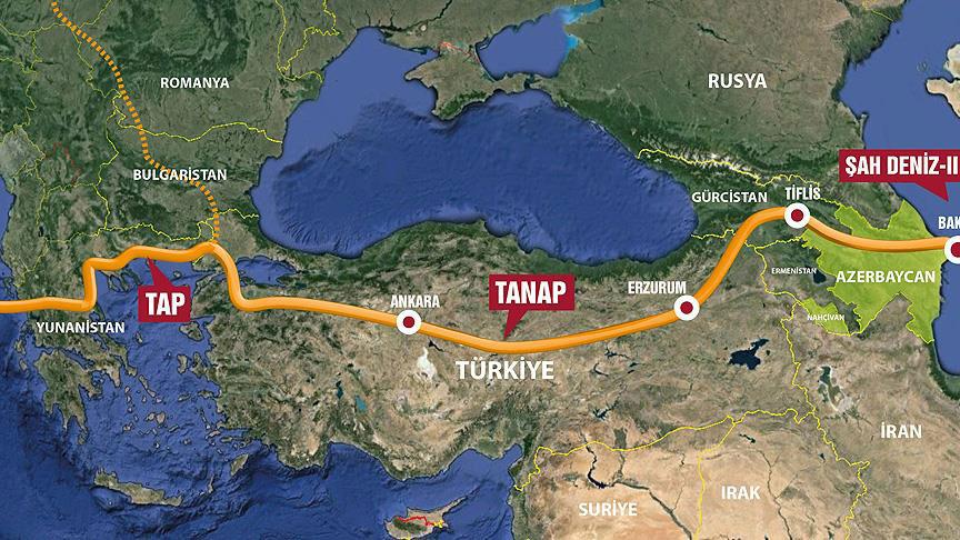 tanap boru hattı güzergahı haritası