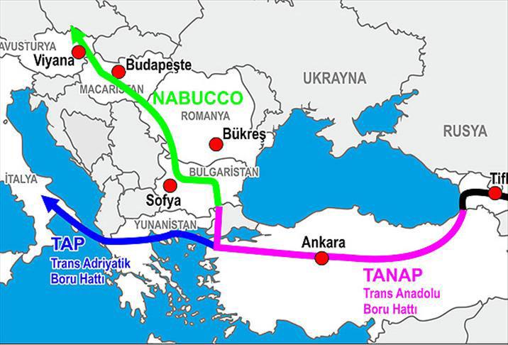 Nabucco boru hattı güzergahı haritası