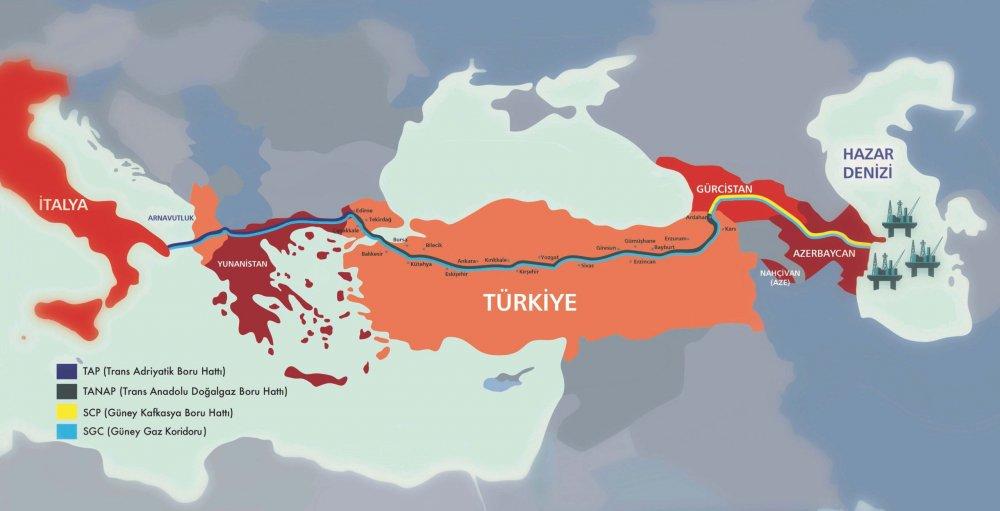 TAP boru hattı güzergahı haritası