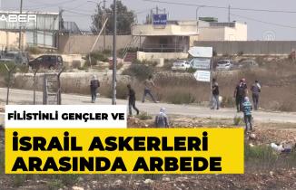 Filistinli gençler ile İsrail askerleri arasında arbede
